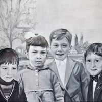 Vier Geschwister am Rhein